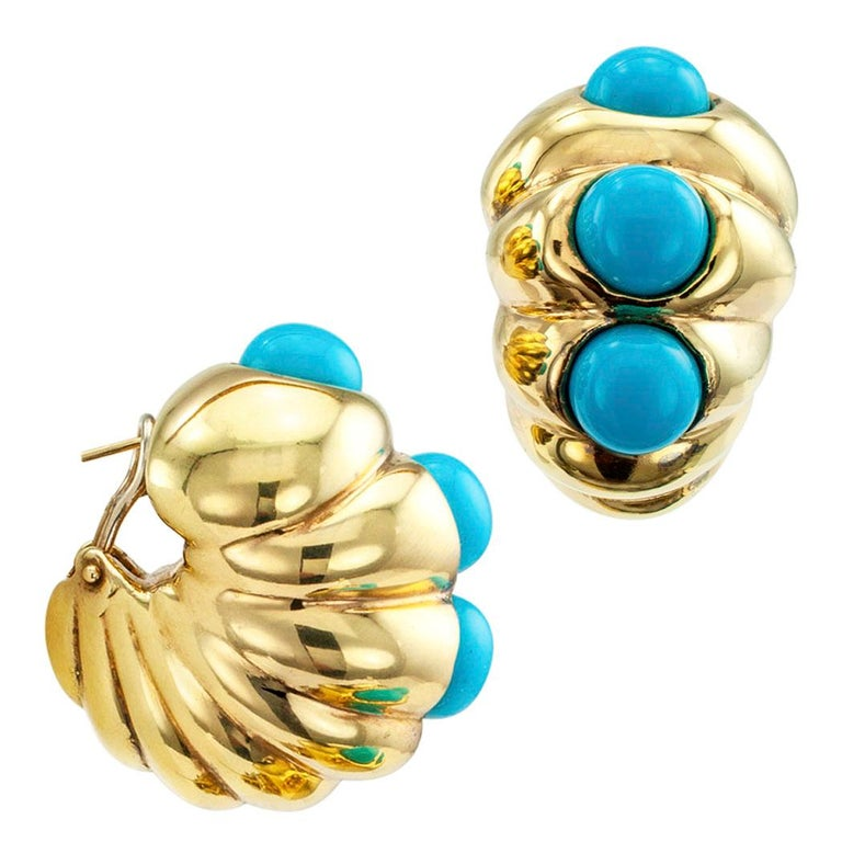 Shrimp Style Turquoise Gold Hoop Earrings For Sale