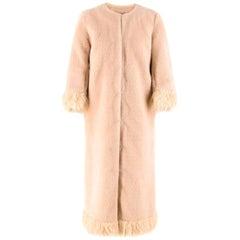 Shrimps Pink Long Faux Fur Coat US 4