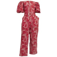 Shrimps Red Paisley Cotton Top & Trouser with Pearls  - Size US 4