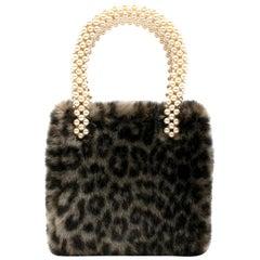 Shrimps Una Leopard Print Faux Fur Bag One size
