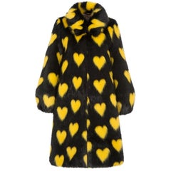Shrimps Yellow & Black Heart Faux Fur Coat - Size US 8