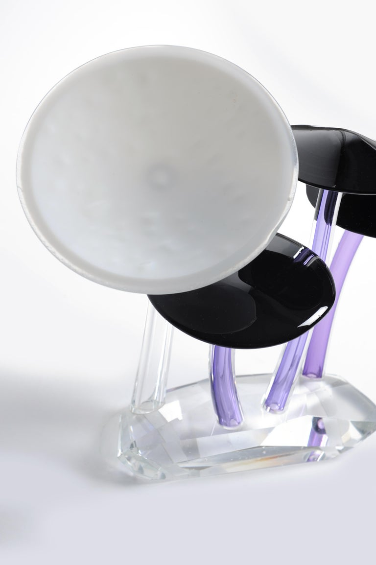 Cast Shroomz Blown Glass Sculpture Purple and White For Sale