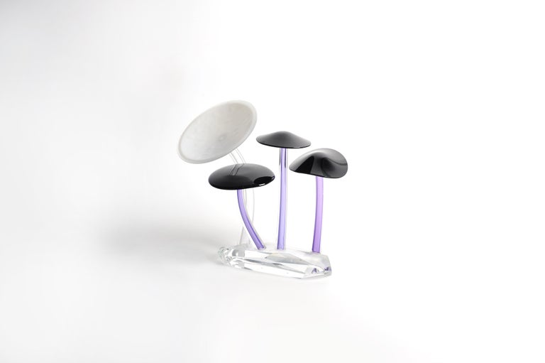 Contemporary Shroomz Blown Glass Sculpture Purple and White For Sale