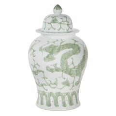 Shu Pot with Lid Handcrafted Porcelain Hand Painted White Green