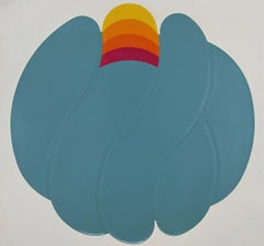 Turquoise Ball - Original Mixed Media by Shu Takahashi - 1973