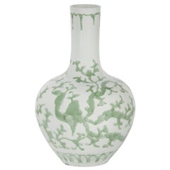 Shu Vase Hand Crafted Porcelain Handpainted White Green