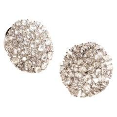 Shukra Venus Earrings 18 Karat White Gold with Diamonds and White Sapphires