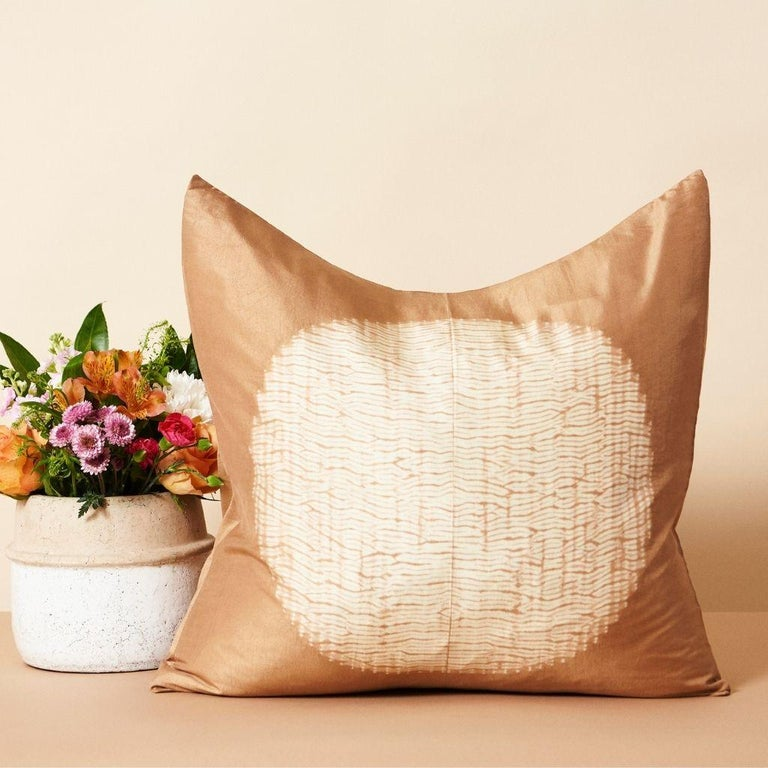 Custom design by Studio Variously, Shunya Gold pillow is handmade by master artisans in India. A sustainable design brand based out of Michigan, Studio Variously exclusively collaborates with artisan communities to restore and revive ancient