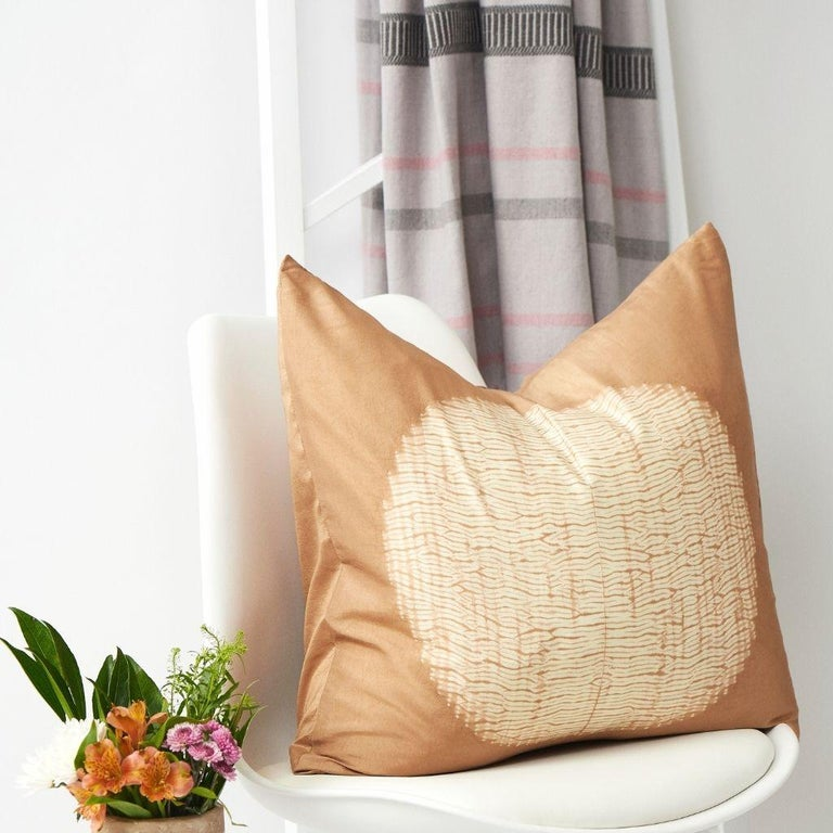 Modern Shunya Gold Shibori Silk Pillow For Sale