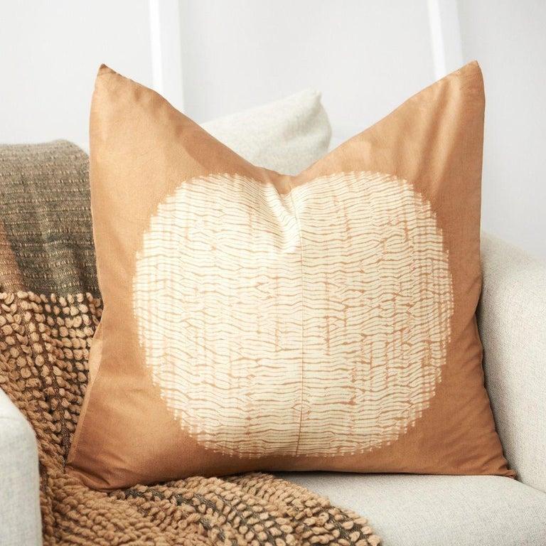 Indian Shunya Gold Shibori Silk Pillow For Sale