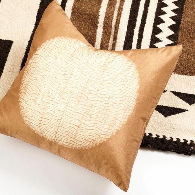 Dyed Shunya Gold Shibori Silk Pillow For Sale