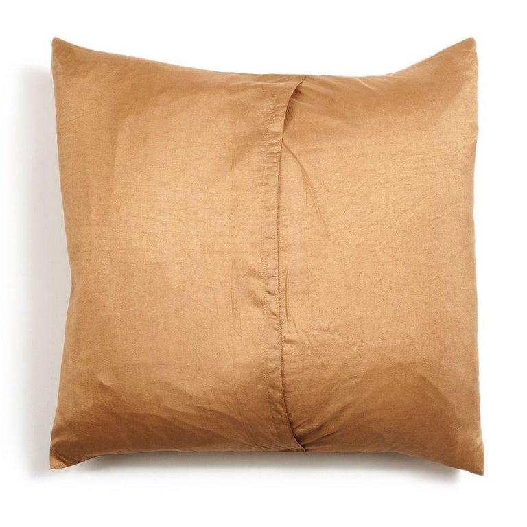 Contemporary Shunya Gold Shibori Silk Pillow For Sale