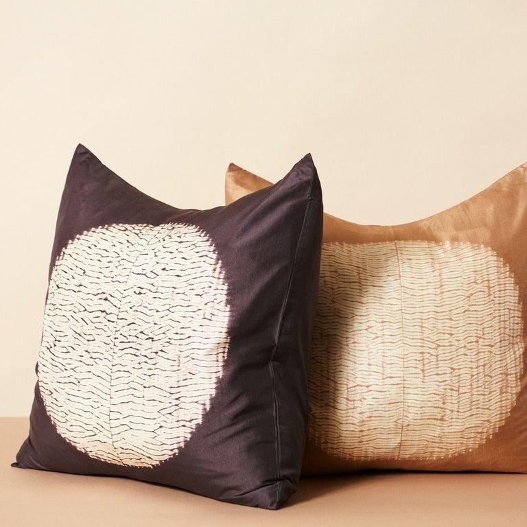 Shunya Gold Shibori Silk Pillow For Sale 1