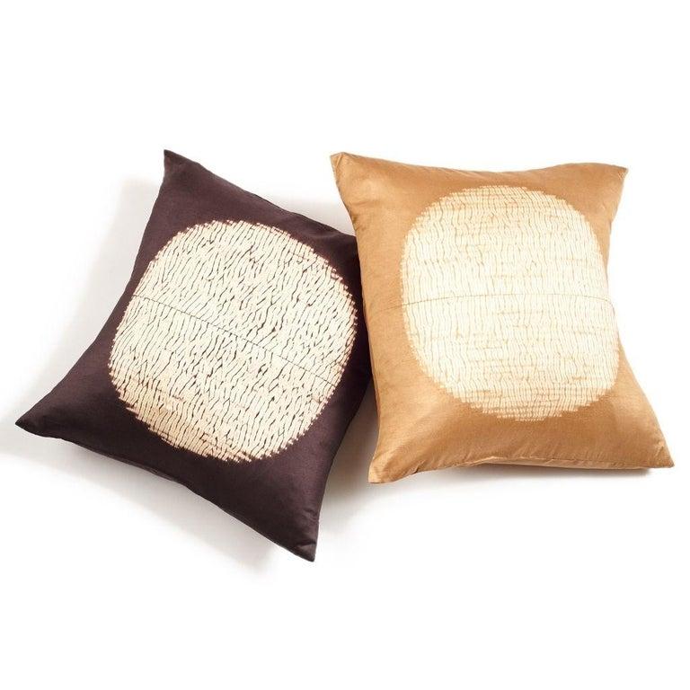 Shunya Gold Shibori Silk Pillow For Sale 2