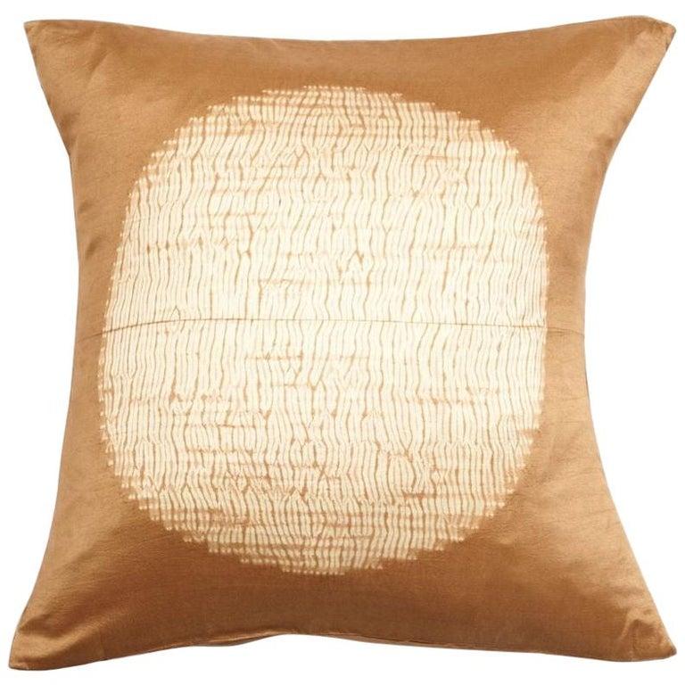 Shunya Gold Shibori Silk Pillow For Sale