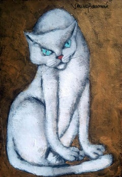 """Cat, Mixed Media on Paper Board by Modern Indian Artist """"In Stock"""""""