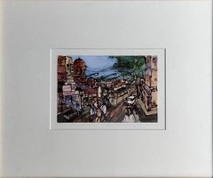 "City Life, Mixed Media on Post Card, Brown,Green, Modern Indian Artist""In Stock"""