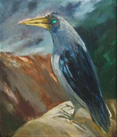 """Crow, Oil on Canvas by Modern Indian Artist """"In Stock"""""""