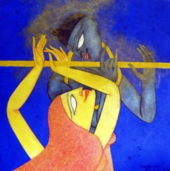 "Duet, India Mythology, Oil,Acrylic on Canvas Blue, Red, Yellow Colour ""In Stock"""