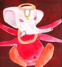 """Ganesha, Mixed Media on Paper by Modern Indian Artist """"In Stock"""""""