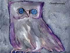 "Goddess Laxmi's Consort, The Owl, Acrylic, Charcoal, Violet, Blue ""In Stock"""