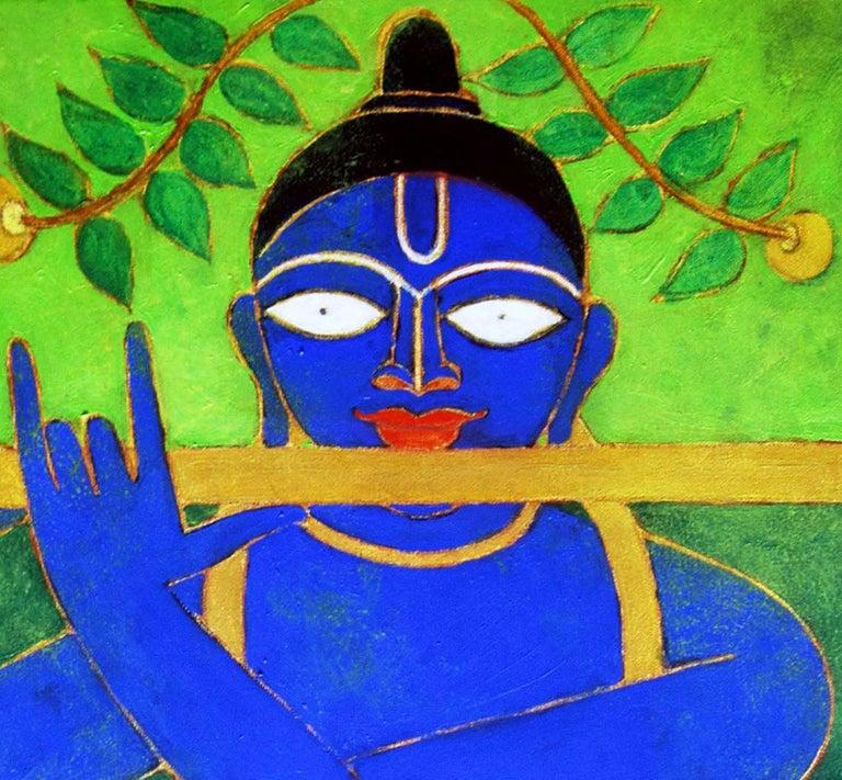 Golden Flute, Romantic, Lord Krishna, Deep Blue, Golden, Green colors
