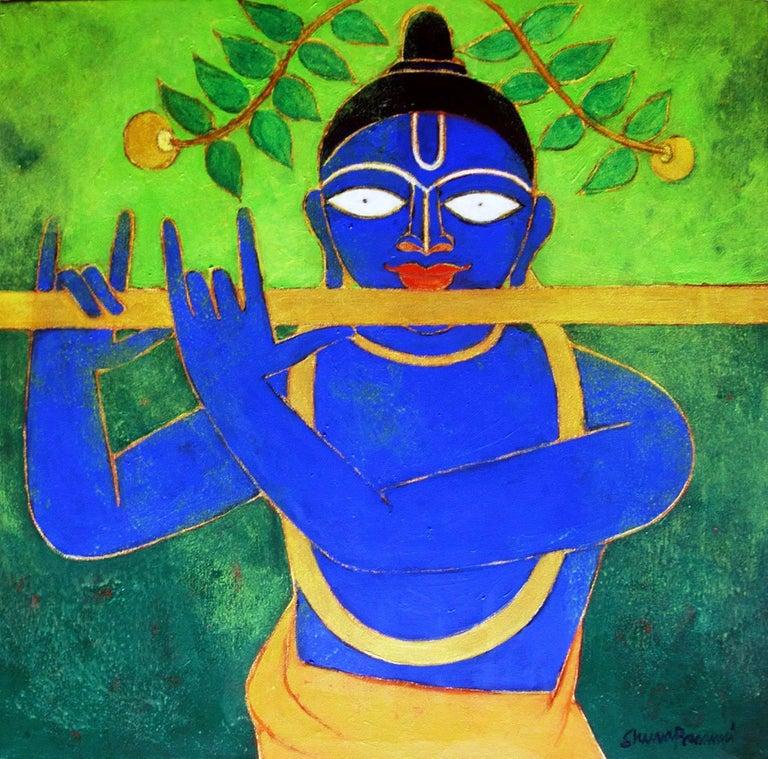 "Golden Flute, Romantic, Lord Krishna, Deep Blue, Golden, Green colors ""In Stock"" - Mixed Media Art by Shuvaprasanna Bhattacharya"