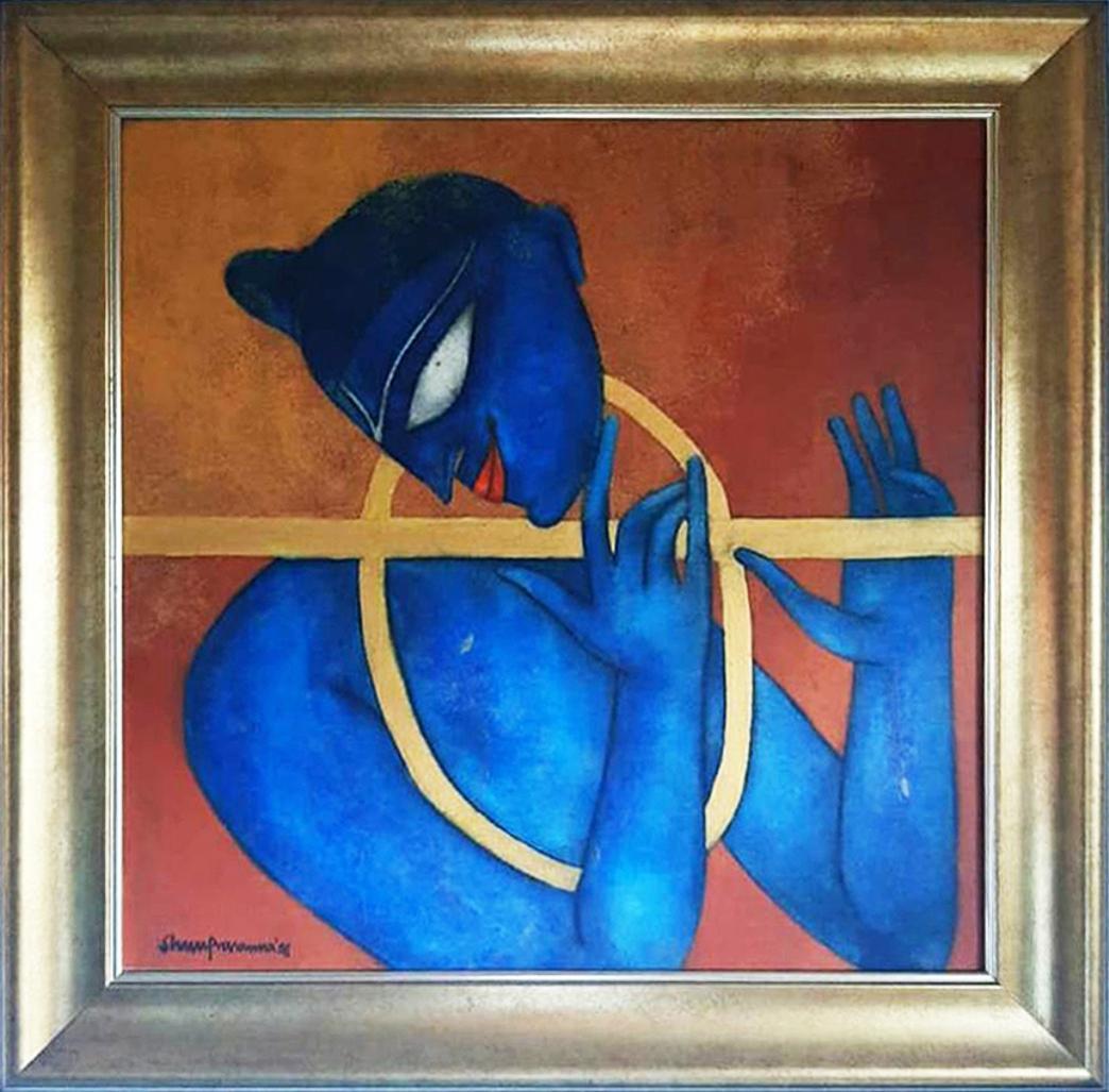 """Golden Flute, Mixed Media on Canvas , Rust BlueYellow , Shuvaprasanna """"In Stock"""""""