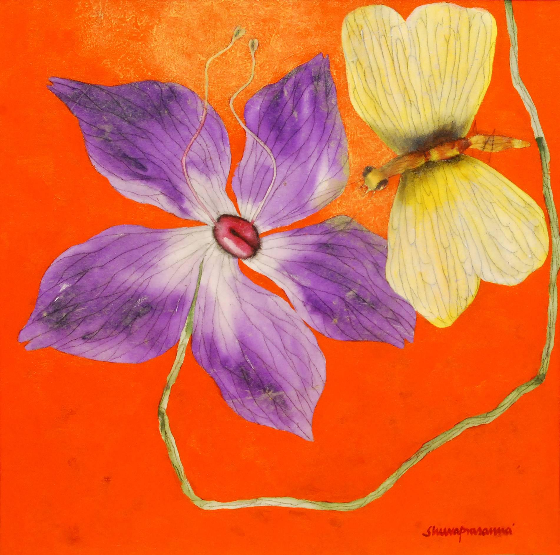 "Illusion II, Flower of Procreation, Oil, Acrylic, Charcoal, Orange ""In Stock"""