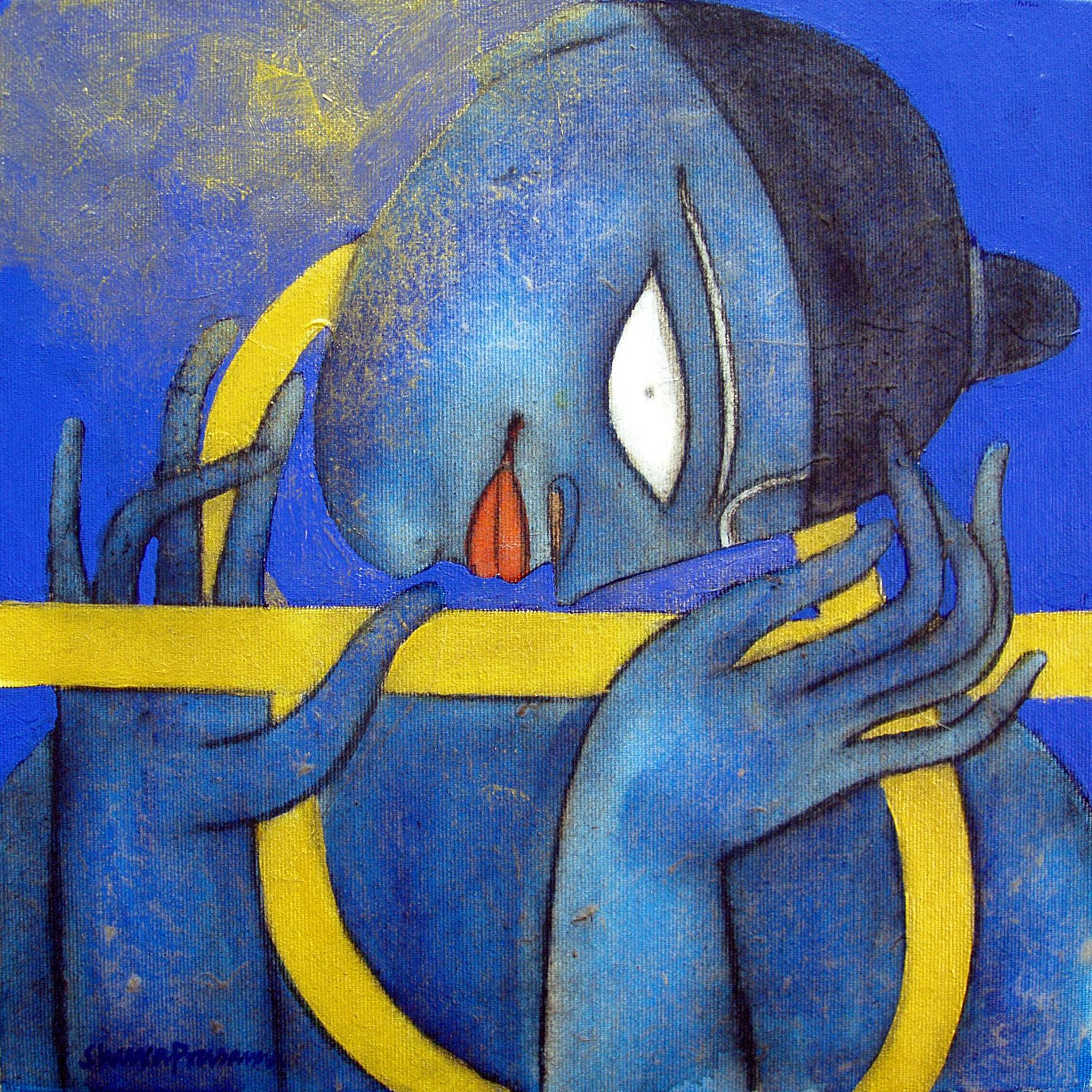 """Krishna, Oil, Acrylic, Charcoal, Blue, Yellow by Indian Modernist """"In Stock"""""""