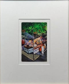 "Market, Mixed Media on Post Card, Green, Red by Modern Indian Artist ""In Stock"""