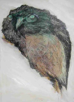 "Owl, Goddess Laxmi's Consort, Mixed Media, Brown, Black, Grey colors ""In Stock"""