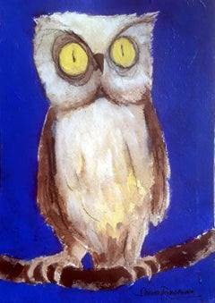 """Owl, Oil Acrylic & Charcoal on Paper by Modern Indian Artist """"In Stock"""""""
