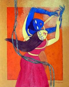 "Radha Kishan, Acrylic on Canvas by Modern Indian Artist ""In Stock"""