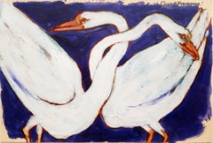 """Swans, Acrylic on Postcard, White, Blue, Red by Modern Indian Artist """"In Stock"""""""