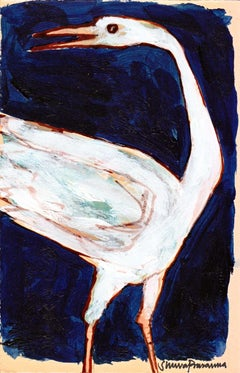 """Swan, Acrylic on Postcard, White, Blue, Red by Modern Indian Artist """"In Stock"""""""