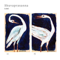 "Swan Series, Acrylic on Paper (Set of 4) by Modern Indian Artist ""In Stock"""
