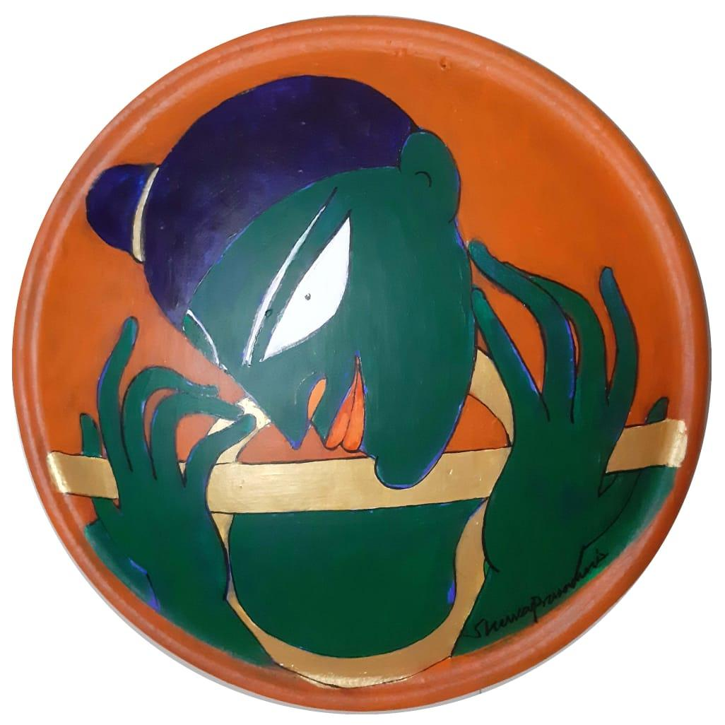 """The Golden Flute, Acrylic on Terracotta Plate by Modern Indian Artist """"In Stock"""""""