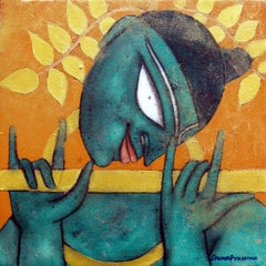 """The Golden Flute, Krishna, Romantic, Oil, Acrylic, Charcoal by Artist """"In Stock"""""""