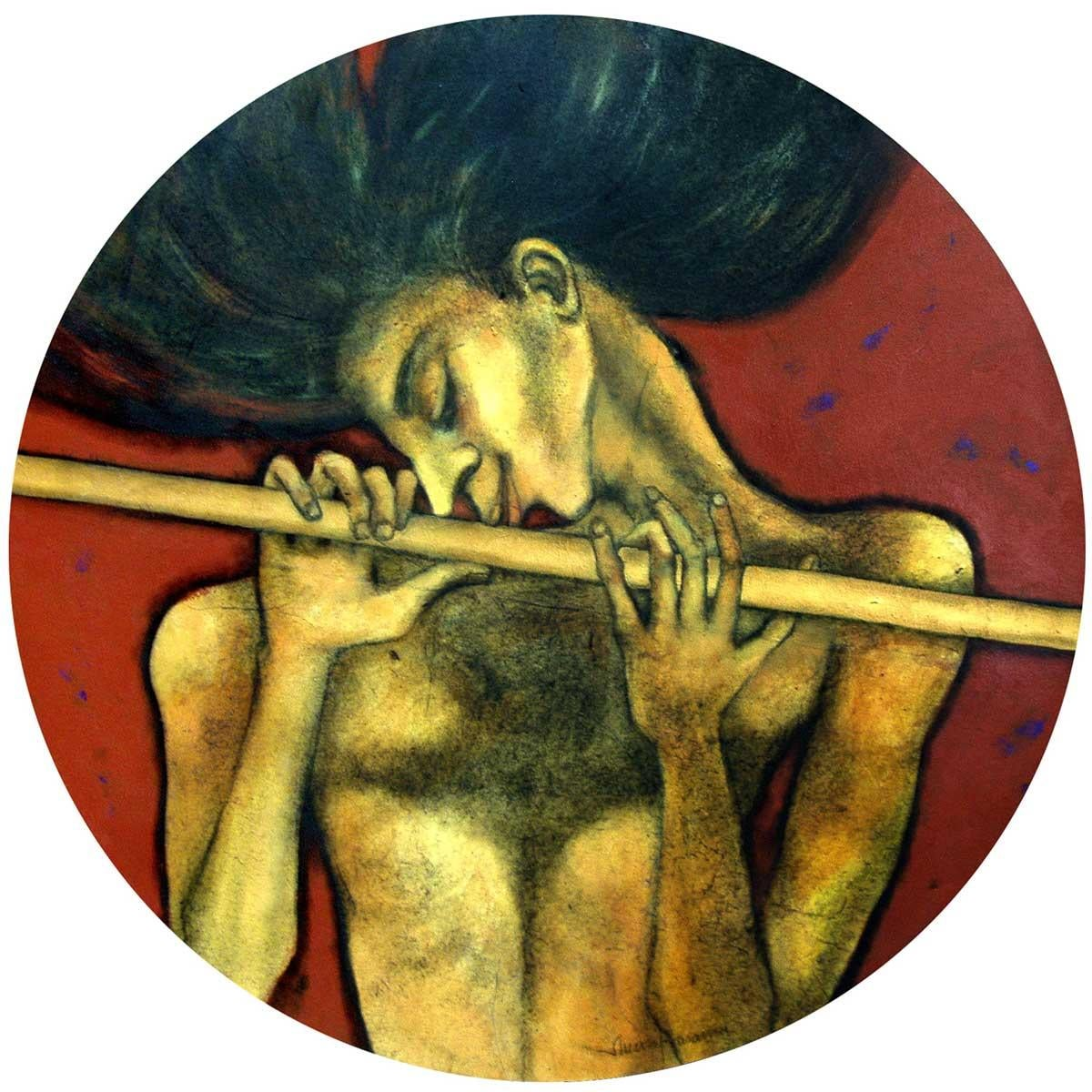 """The Golden Flute, Oil, Acrylic & Charcoal on Canvas by Indian Artist """"In Stock"""""""
