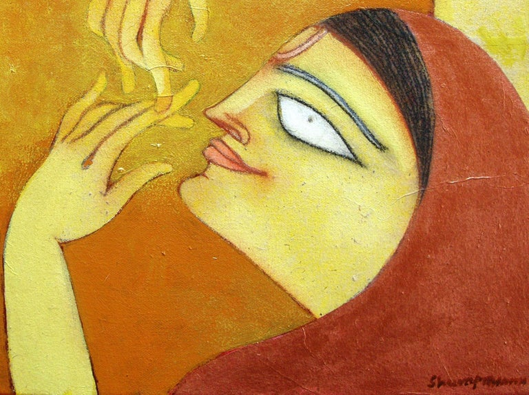 The Golden Flute, Romantic, Oil, Acrylic, Charcoal, Brown, Red, Yellow
