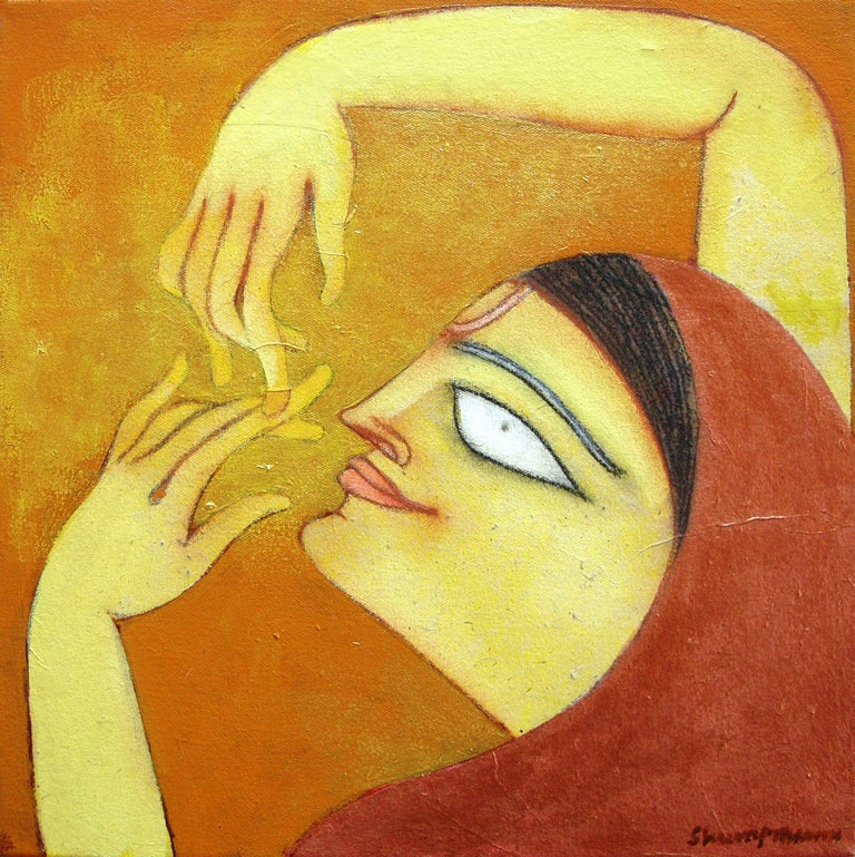 """Shuvaprasanna Bhattacharya Figurative Painting - The Golden Flute, Romantic, Oil, Acrylic, Charcoal, Brown, Red, Yellow""""In Stock"""""""
