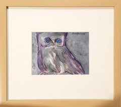 "The Owl, Goddess Laxmi's Consort, Acrylic, Charcoal, Violet, Blue ""In Stock"""
