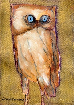 "The Owl, Goddess Laxmi's Consort, Blue,Rounded Eyes, Acrylic, Charcoal""In Stock"""