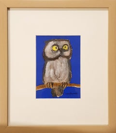 "The Owl, Goddess Laxmi's Consort, Yellow Eyeballs, Acrylic, Charcoal ""In Stock"""