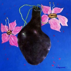 """Illusion, Canvas , Blue Pink Colors , by Indian Artist Shuvaprasanna """"In Stock"""""""