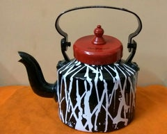 Striking Indian aluminum kettle, in black, red, white; india art Shuvaprasanna