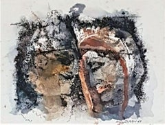 """Bride & Bridegroom, Watercolour on Paper by Modern Indian Artist """"In Stock"""""""