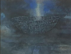 "Deep, Watercolor on Handmade paper, Blue, Grey by Modern Indian Artist""In Stock"""