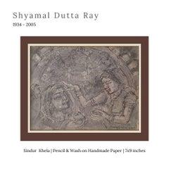 "Durga Puja, Watercolor on Handmade paper, Brown, Modern Indian Artist ""In Stock"""